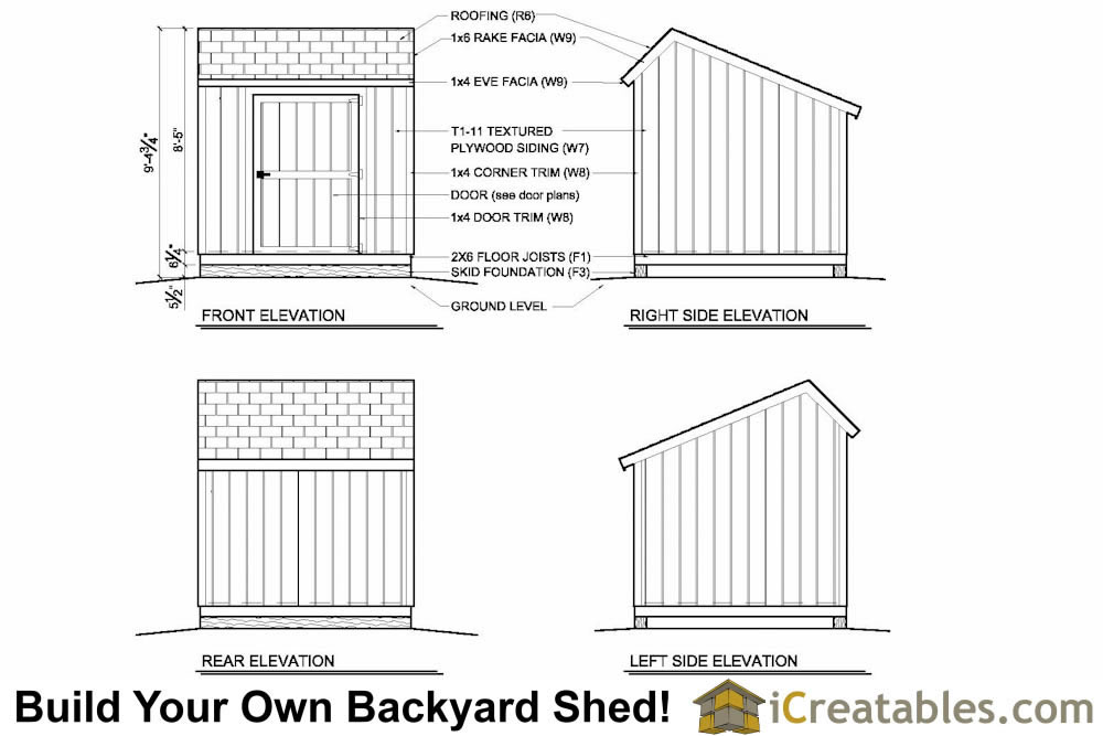 8x8 salt box shed plans elevations