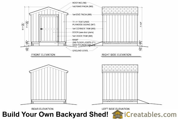 8x8 shed plan elevations