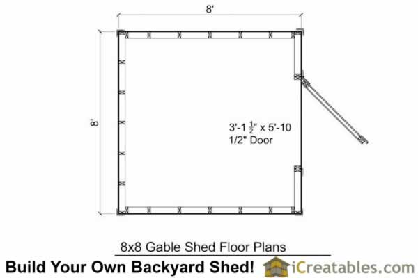 8x8 shed plan floor plans