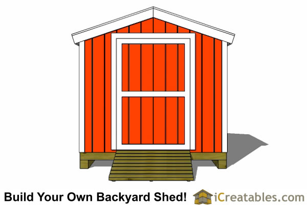 8x8 shed plans front