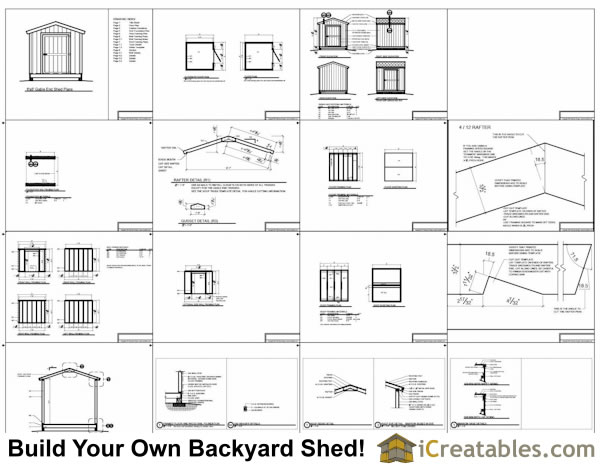 8x10 Gable Shed Plans Include The Following: