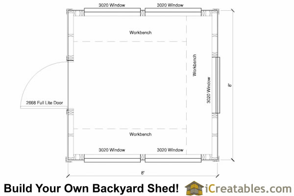 8x8 greenhouse shed plans storage shed plans icreatables for Greenhouse floor plan