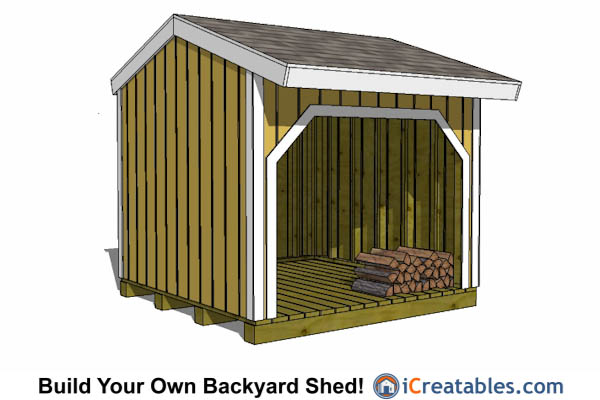8x8 firewood shed plans front view