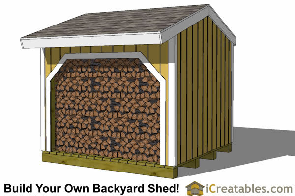 8x8 firewood shed plans front elevation