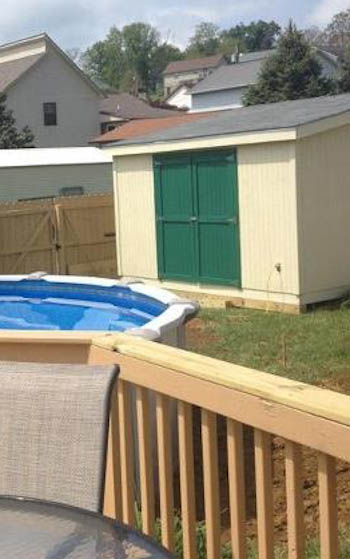 finished shed with pool