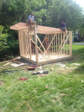 12x14 modern shed roof framing