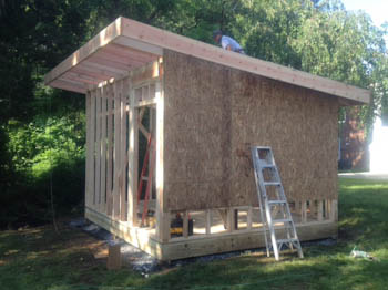 12x14 studio shed side walls sheeted