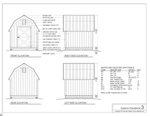 shed plans exterior elevations