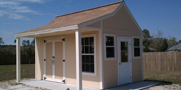 Colonial Style Shed with Porch Plans