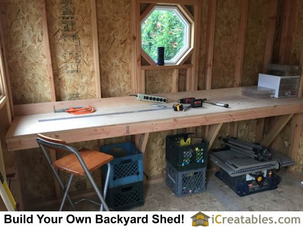 build workbench in storage shed workshop