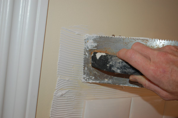 apply mastic to wall tile