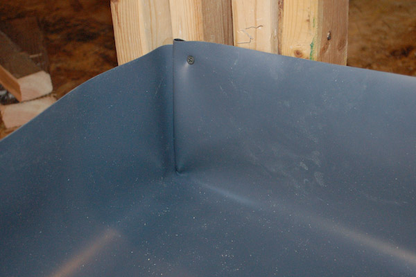 shower pan liner fold outside