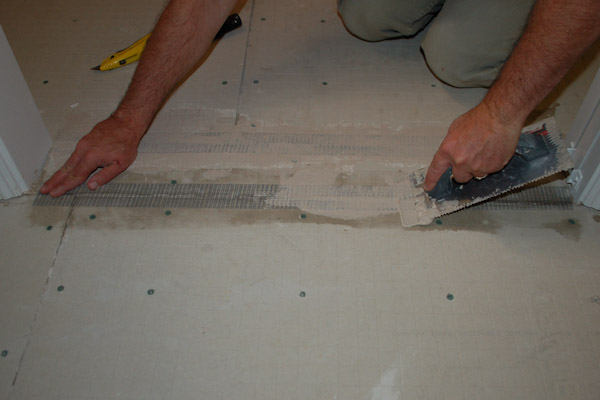 Install thinset on cement backer board