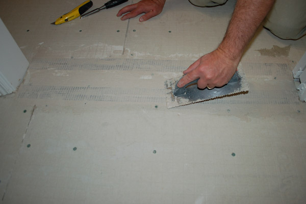 smooth out thinset on cement backer board