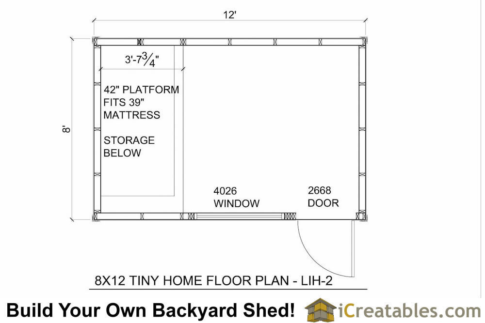 8x12 Tiny Home 8x12 Low Income House Plans