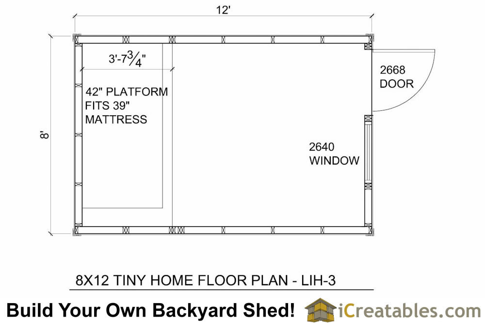 8x12 tiny home door end for Income property floor plans
